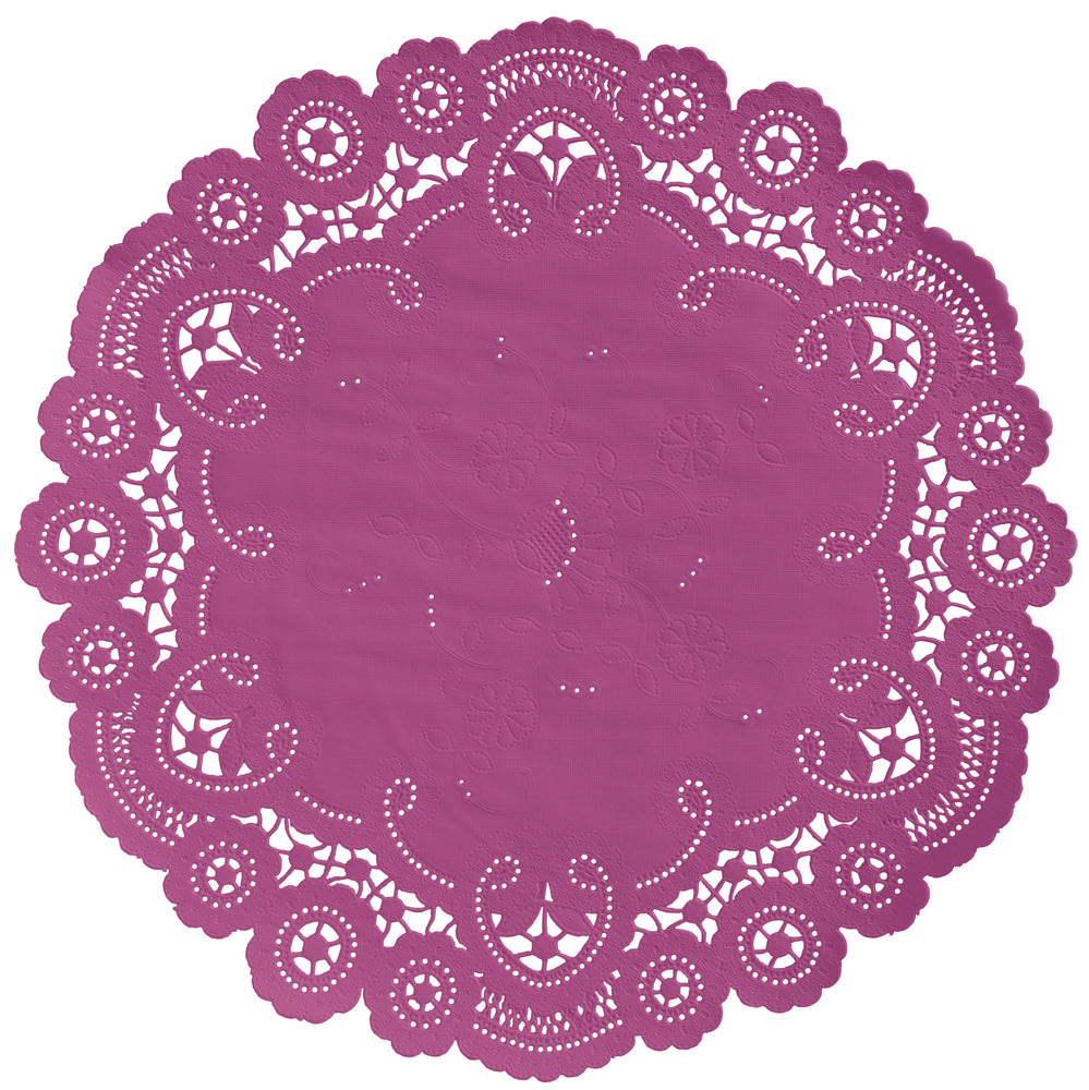 "Begonia color paper doilies available in the delicate French lace style and in sizes ranging from 4"" to 12"""