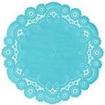 "Belize blue color paper doilies available in the delicate French lace style and in sizes ranging from 4"" to 12"""