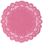 "Bella pink color paper doilies available in the delicate French lace style and in sizes ranging from 4"" to 12"""