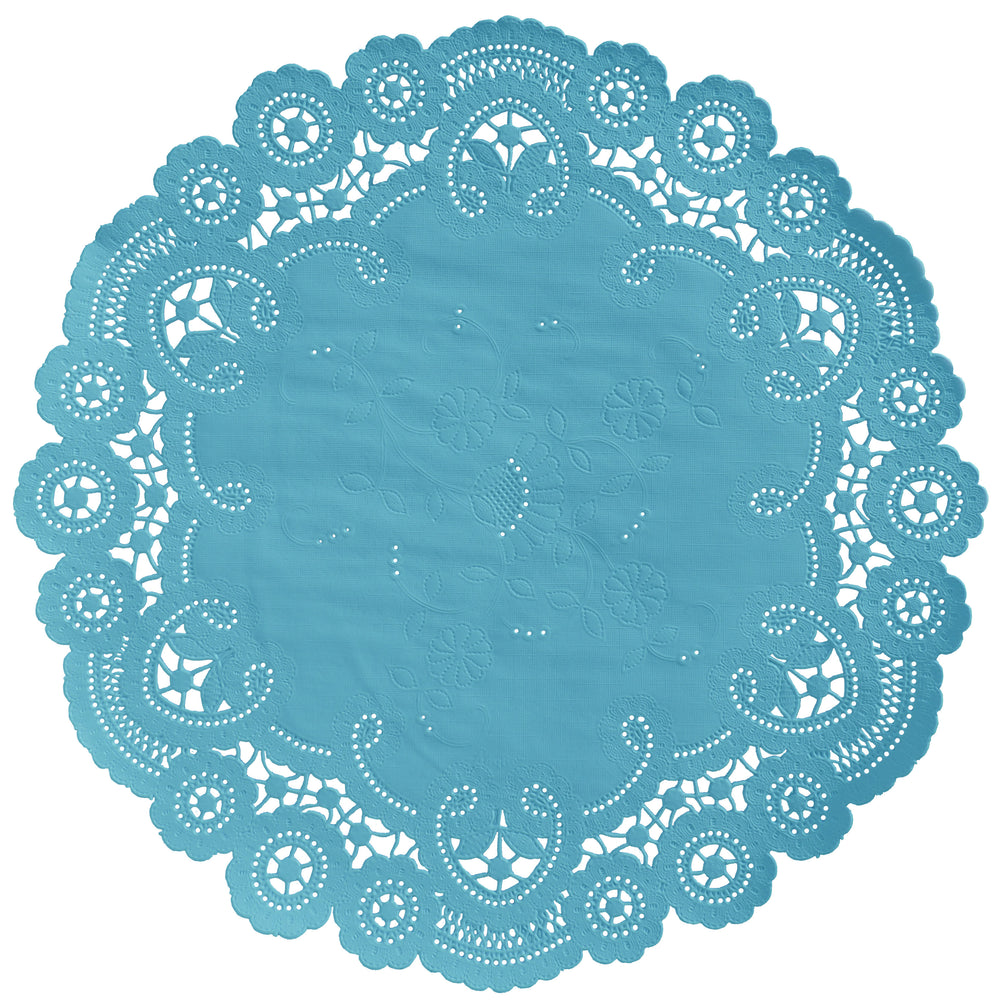 "Belle blue color paper doilies available in the delicate French lace style and in sizes ranging from 4"" to 12"""