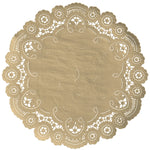"Biscotti color paper doilies available in the delicate French lace style and in sizes ranging from 4"" to 12"""