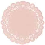 "Bisque color paper doilies available in the delicate French lace style and in sizes ranging from 4"" to 12"""