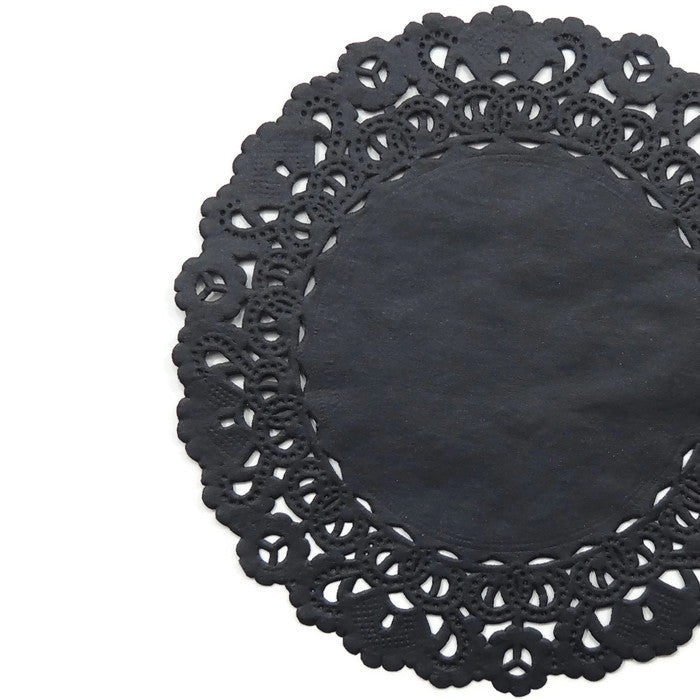 "BLACK Round Paper Doilies | Normandy | Chargers, Placemats, Invitations | 4"", 5"", 6"" 8"", 10"", 12"", 14"", 16"""