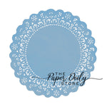 Faded denim light blue paper doilies for weddings and baby shower