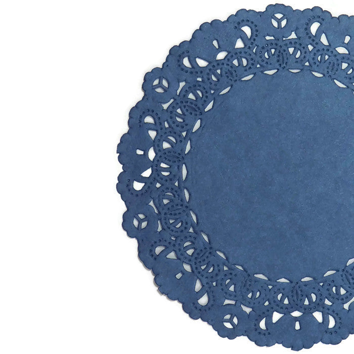 "Lacy blueberry color paper doilies, each hand dyed to perfection for your special event. Available in over 250 colors, 6 different doily styles and sizes range from 4"" to 16""."