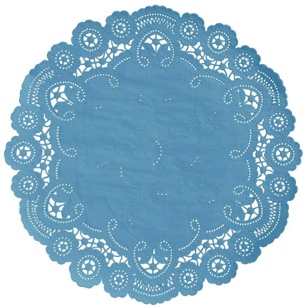 "Bluejay color paper doilies available in the delicate French lace style and in sizes ranging from 4"" to 12"""
