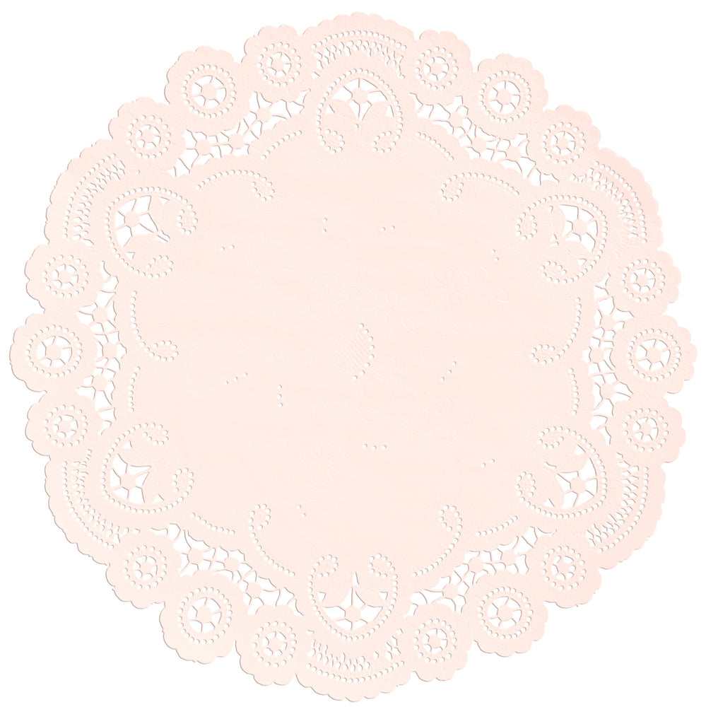 "Blush color paper doilies available in the delicate French lace style and in sizes ranging from 4"" to 12"""