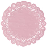 "Blushing bride color paper doilies available in the delicate French lace style and in sizes ranging from 4"" to 12"""