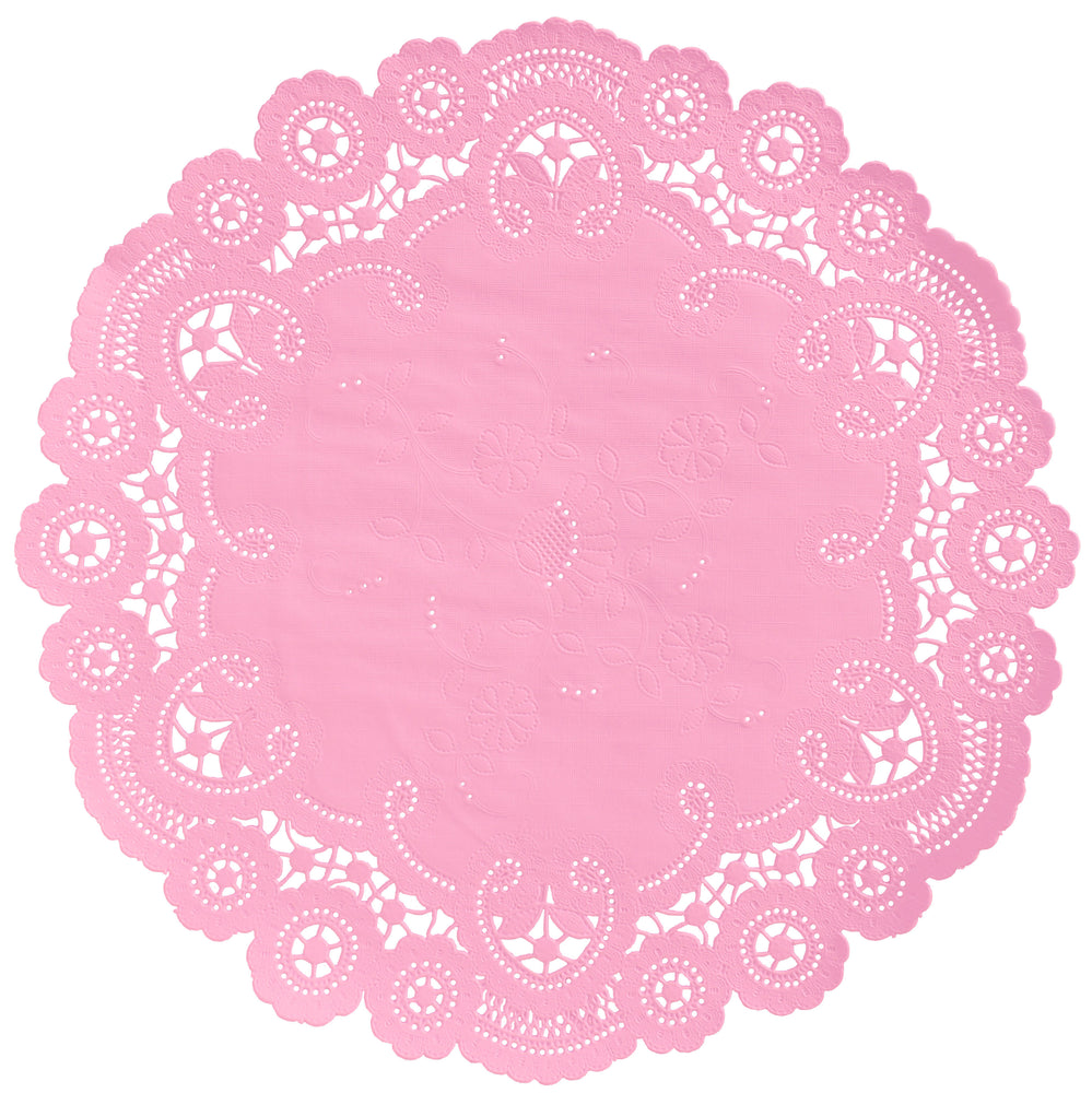 "Bubblegum pink color paper doilies available in the delicate French lace style and in sizes ranging from 4"" to 12"""