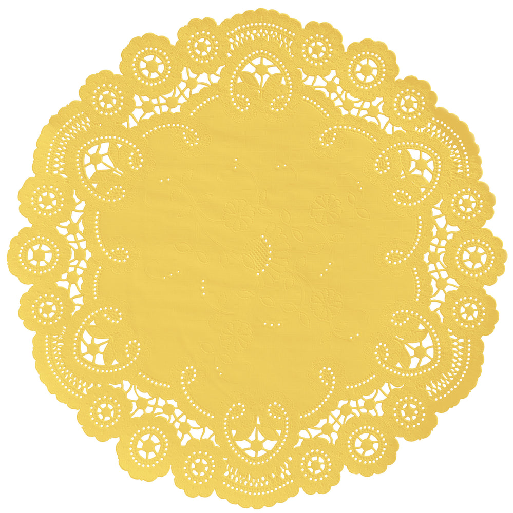 "Bumblebee color paper doilies available in the delicate French lace style and in sizes ranging from 4"" to 12"""