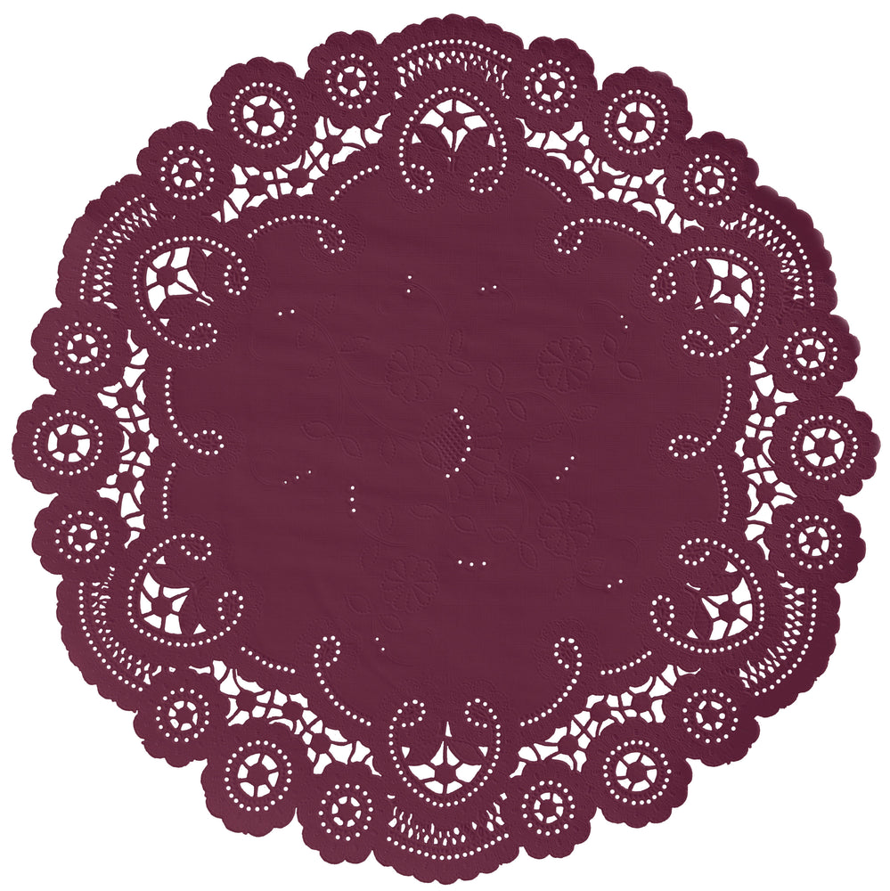 "Burgundy color paper doilies available in the delicate French lace style and in sizes ranging from 4"" to 12"""