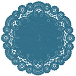 "Cadet blue color paper doilies available in the delicate French lace style and in sizes ranging from 4"" to 12"""