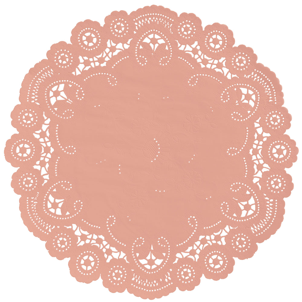 "Cameo color paper doilies available in the delicate French lace style and in sizes ranging from 4"" to 12"""