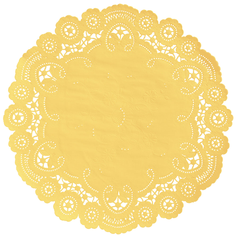 "Canary color paper doilies available in the delicate French lace style and in sizes ranging from 4"" to 12"""