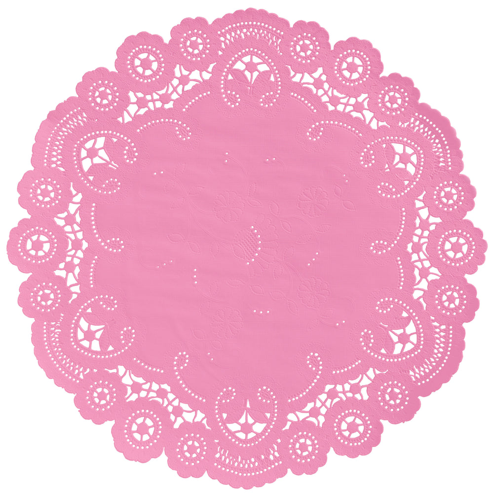 "Carnation pink color paper doilies available in the delicate French lace style and in sizes ranging from 4"" to 12"""