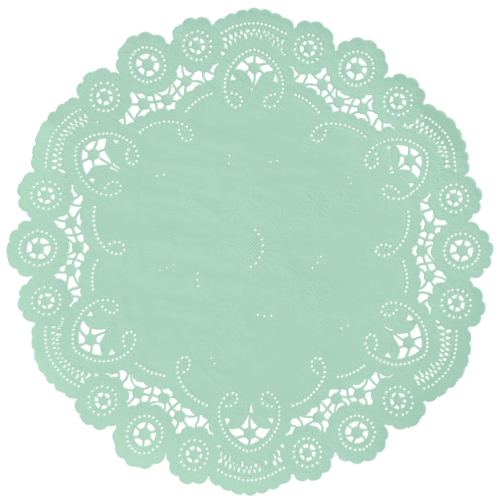 "Celadon color paper doilies available in the delicate French lace style and in sizes ranging from 4"" to 12"""