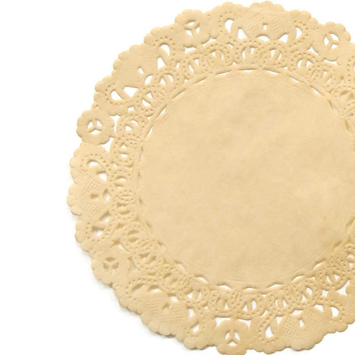 "CHAMOIS BEIGE Round Paper Doilies | Normandy | Chargers, Placemats, Invitations | 4"", 5"", 6"" 8"", 10"", 12"", 14"", 16"""