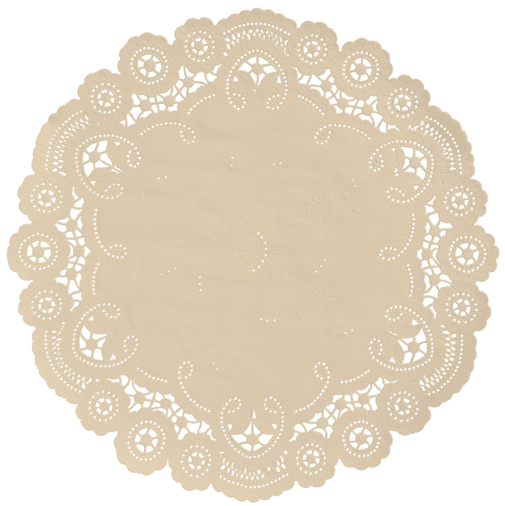 "Champagne color paper doilies available in the delicate French lace style and in sizes ranging from 4"" to 12"""