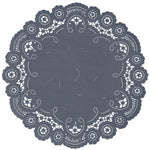 "Charcoal color paper doilies available in the delicate French lace style and in sizes ranging from 4"" to 12"""