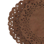 "Chocolate Brown paper doilies available in 4"" to 16"" sizes"
