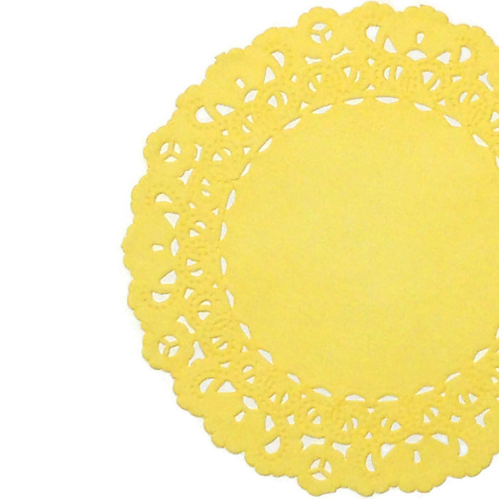 "Lemon yellow paper doilies in 4"" to 16"" round sizes"