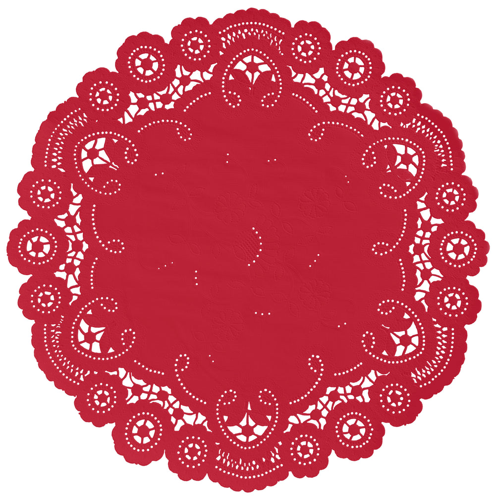 "Classic ruby red color paper doilies available in the delicate French lace style and in sizes ranging from 4"" to 12"""