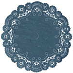 "Cobalt color paper doilies available in the delicate French lace style and in sizes ranging from 4"" to 12"""