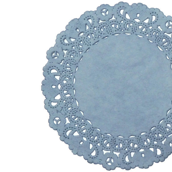 "Steel color paper doilies available in the Normandy style and in sizes ranging from 4"" to 16""."