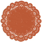 "Copper color paper doilies available in the delicate French lace style and in sizes ranging from 4"" to 12"""