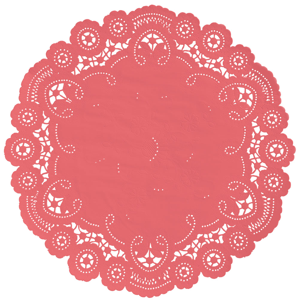 "Coral passion color paper doilies available in the delicate French lace style and in sizes ranging from 4"" to 12"""