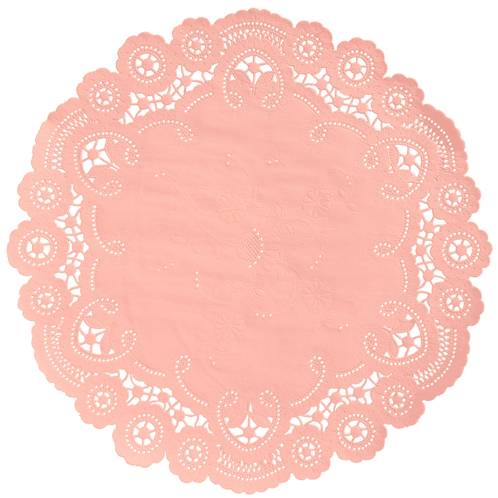 CORAL PINK French Lace Doilies