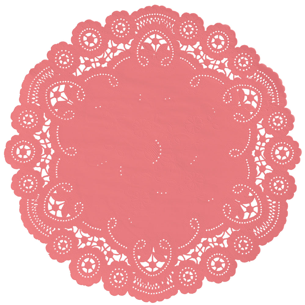 "Coral reef color paper doilies available in the delicate French lace style and in sizes ranging from 4"" to 12"""