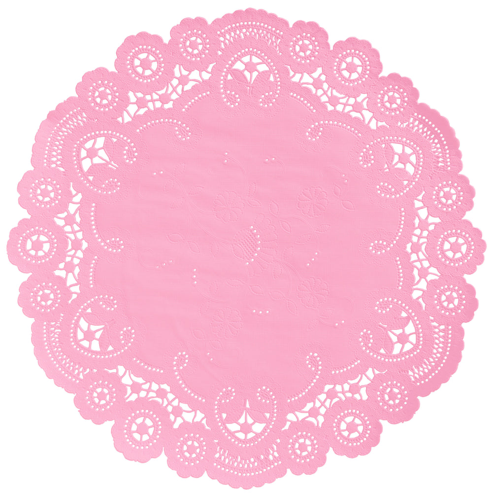 "Cotton candy color paper doilies available in the delicate French lace style and in sizes ranging from 4"" to 12"""