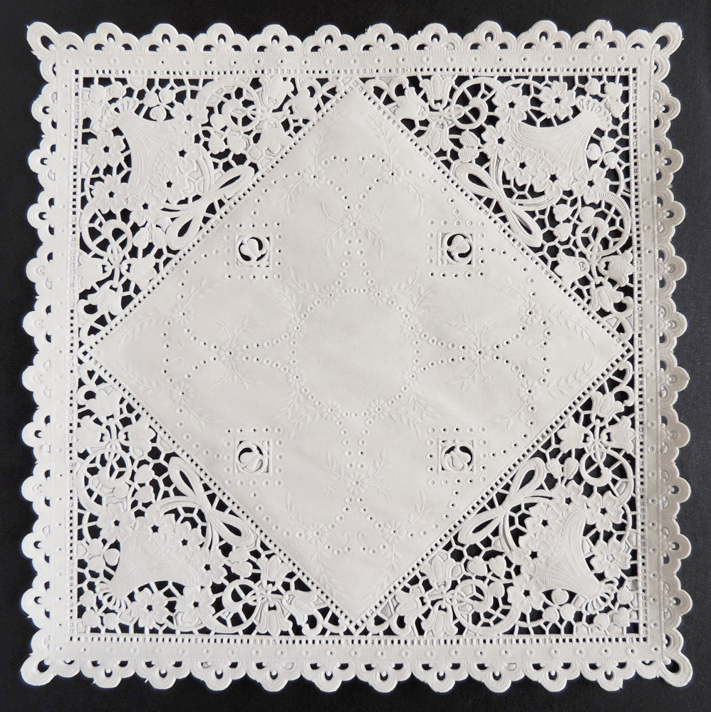 "SQUARE FLOWER BASKET Paper Doilies | 8""x 8"" - 10"" x 10"" Invitation Doilies"