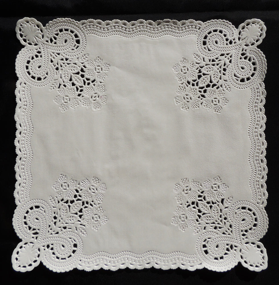 "10"" x 10"" SQUARE White Paper Doilies for Envelopes"