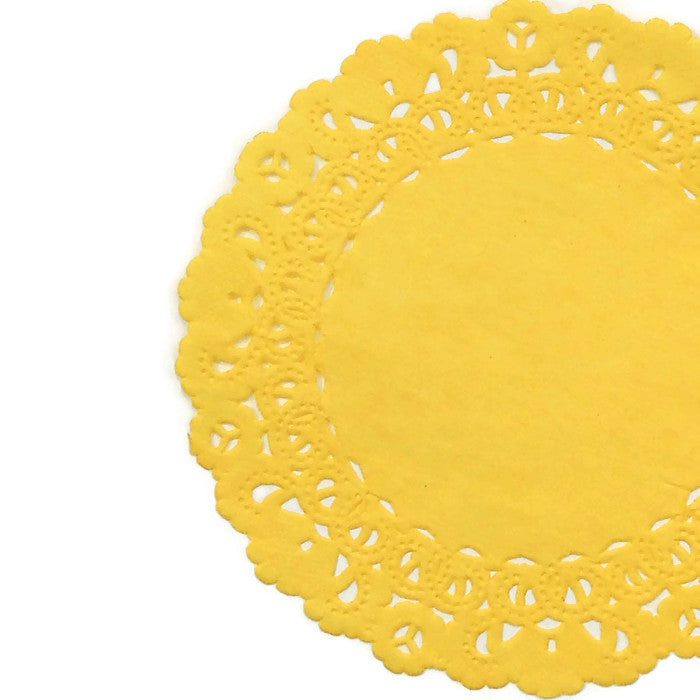 "Daffodil Yellow color doilies are available in sizes from 4"" to 16"" rounds"