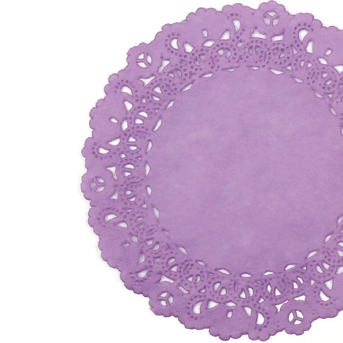 "Dusty orchid paper lace doilies in 4"" to 16"" round sizes"