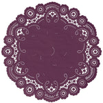 "Dark currant color paper doilies available in the delicate French lace style and in sizes ranging from 4"" to 12"""