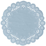 "Dusty blue color paper doilies available in the delicate French lace style and in sizes ranging from 4"" to 12"""