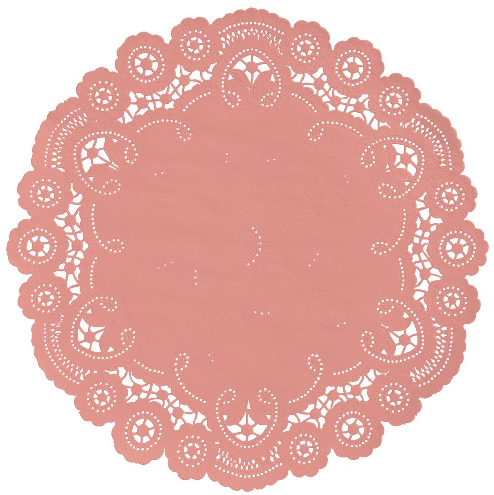 "Dusty coral color paper doilies available in the delicate French lace style and in sizes ranging from 4"" to 12"""
