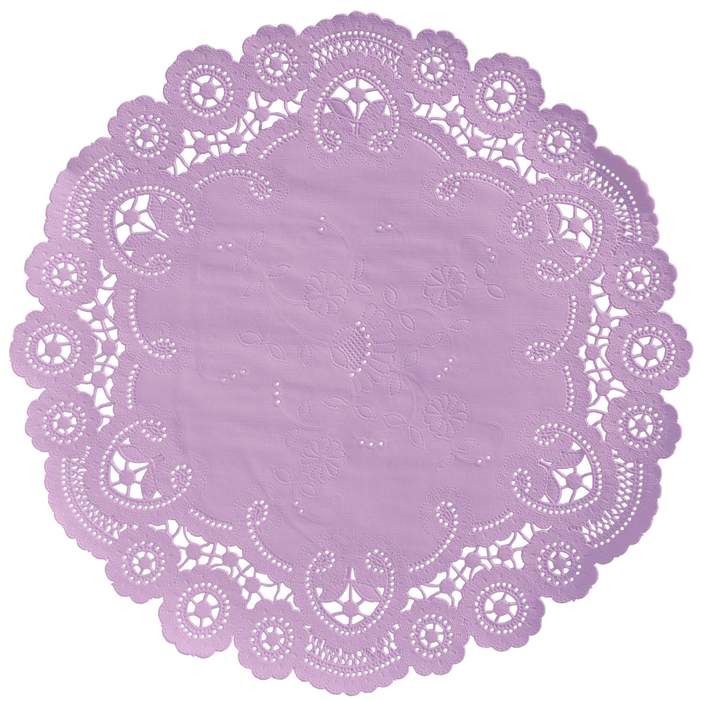 "Dusty lilac color paper doilies available in the delicate French lace style and in sizes ranging from 4"" to 12"""