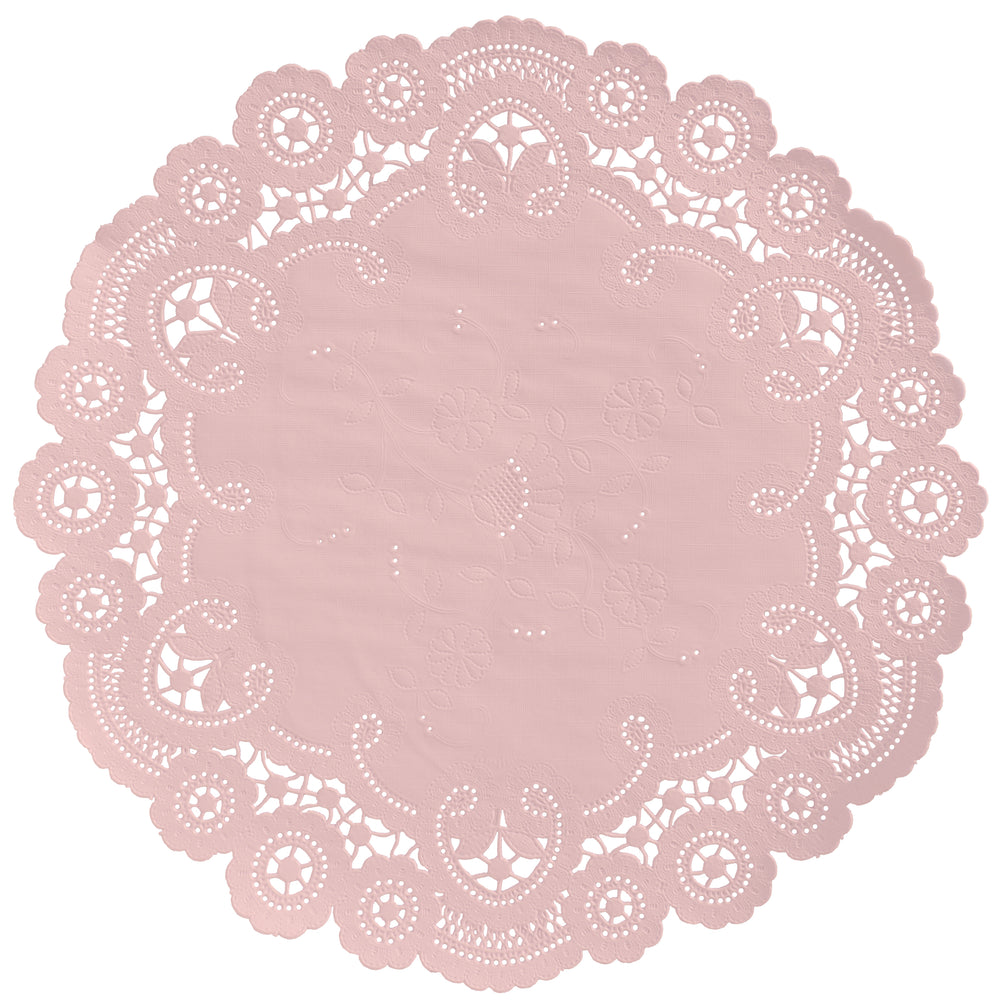 "Dusty pink color paper doilies available in the delicate French lace style and in sizes ranging from 4"" to 12"""