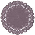 "Dusty purple color paper doilies available in the delicate French lace style and in sizes ranging from 4"" to 12"""