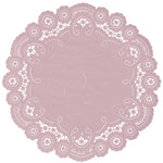 "Dusty rose color paper doilies available in the delicate French lace style and in sizes ranging from 4"" to 12"""