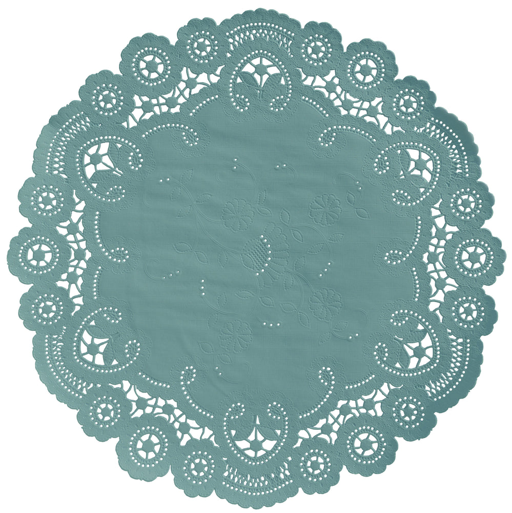 DUSTY TEAL French Lace Doilies