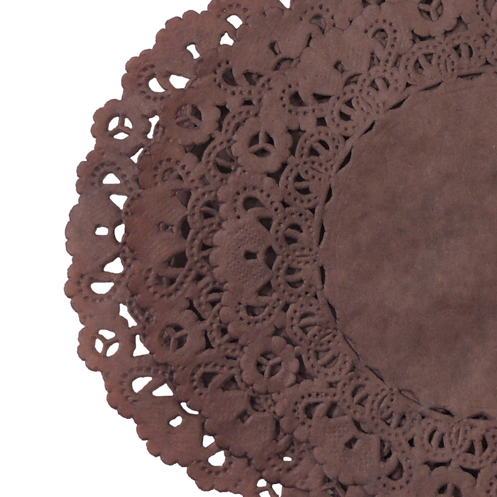 "Friar Dark Brown paper doilies in 4"" to 16"" sizes"