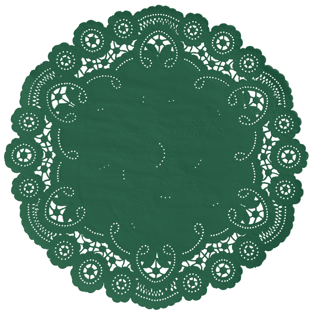 "Emerald green color paper doilies available in the delicate French lace style and in sizes ranging from 4"" to 12"""