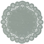"Eucalyptus green color paper doilies available in the delicate French lace style and in sizes ranging from 4"" to 12"""