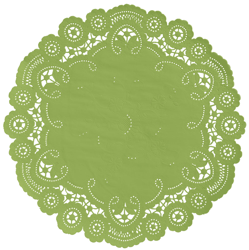 "Fern green color color paper doilies available in the delicate French lace style and in sizes ranging from 4"" to 12"""