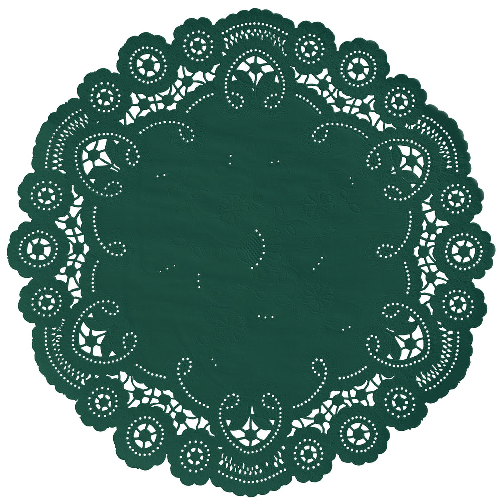 "Forest green color paper doilies available in the delicate French lace style and in sizes ranging from 4"" to 12"""